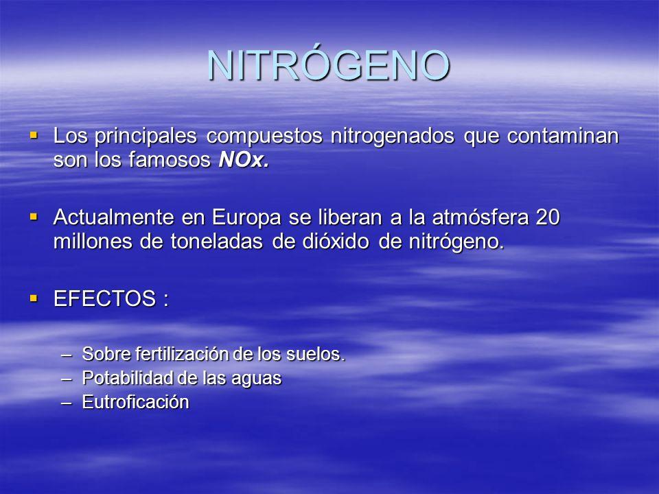 NITRÓGENO Los principales compuestos nitrogenados que contaminan son los famosos NOx. Los principales compuestos nitrogenados que contaminan son los f