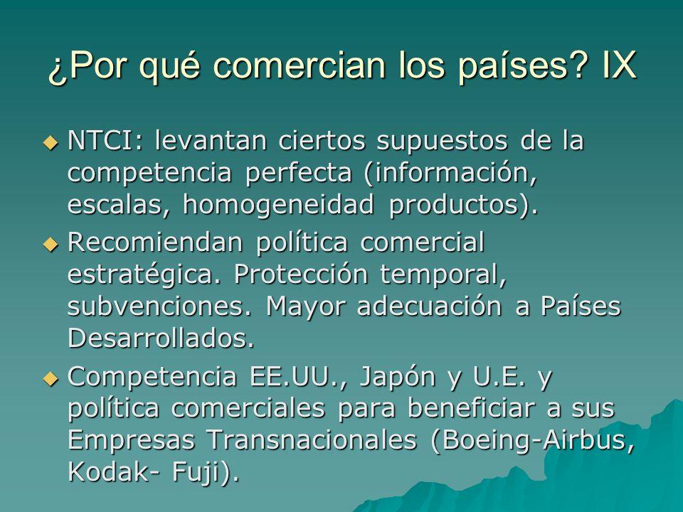 ¿Por qué comercian los países? IX NTCI: levantan ciertos supuestos de la competencia perfecta (información, escalas, homogeneidad productos). NTCI: le