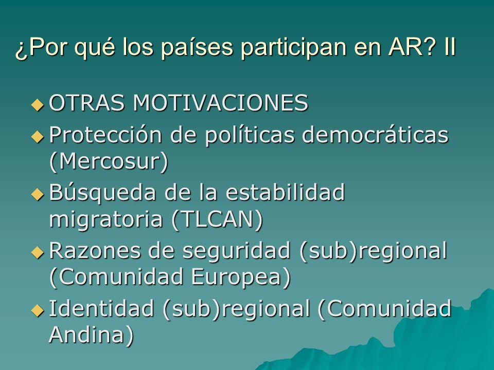 ¿Por qué los países participan en AR? II OTRAS MOTIVACIONES OTRAS MOTIVACIONES Protección de políticas democráticas (Mercosur) Protección de políticas