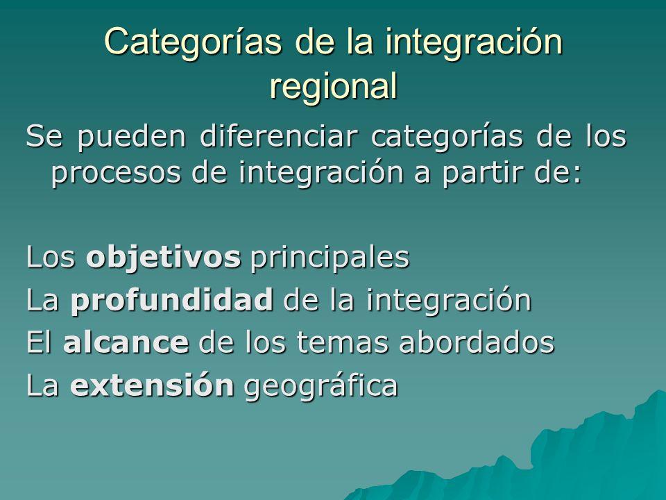 Categorías de la integración regional Se pueden diferenciar categorías de los procesos de integración a partir de: Los objetivos principales La profun
