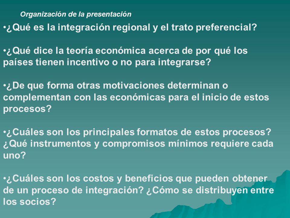 Organización de la presentación ¿Qué es la integración regional y el trato preferencial? ¿Qué dice la teoría económica acerca de por qué los países ti