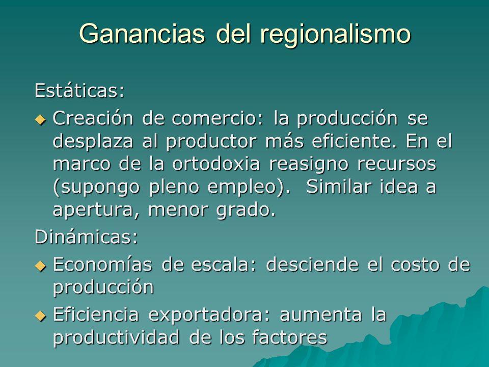 Ganancias del regionalismo Estáticas: Creación de comercio: la producción se desplaza al productor más eficiente. En el marco de la ortodoxia reasigno