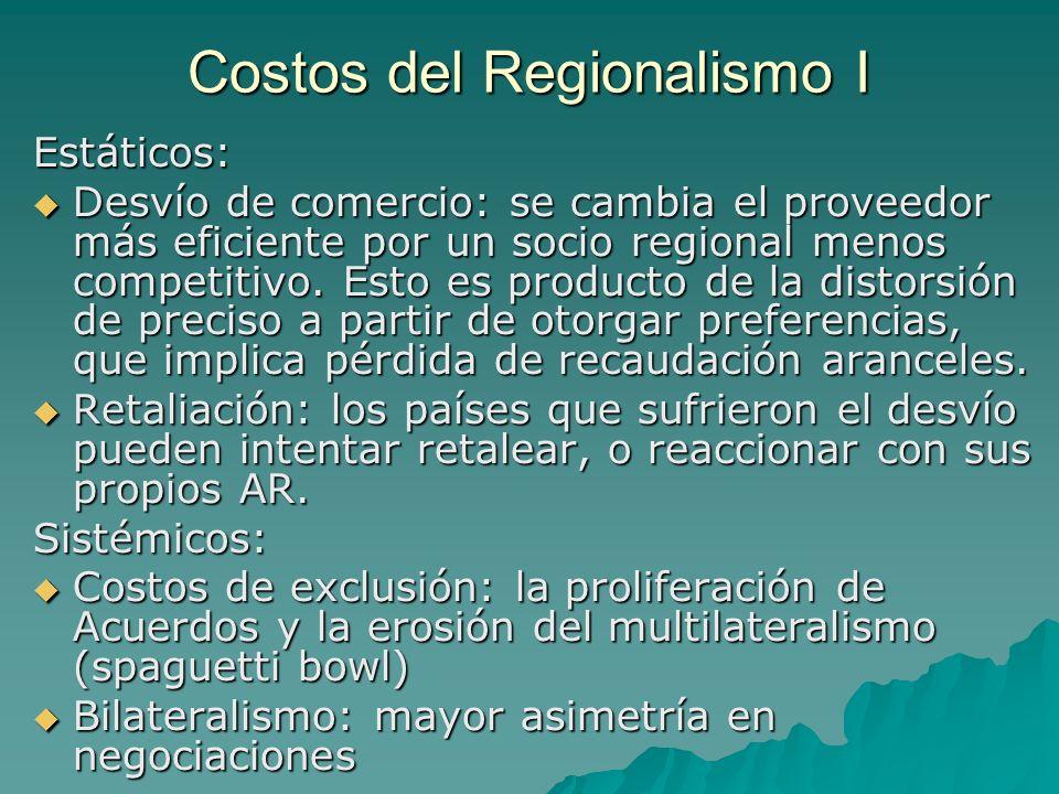 Costos del Regionalismo I Estáticos: Desvío de comercio: se cambia el proveedor más eficiente por un socio regional menos competitivo. Esto es product