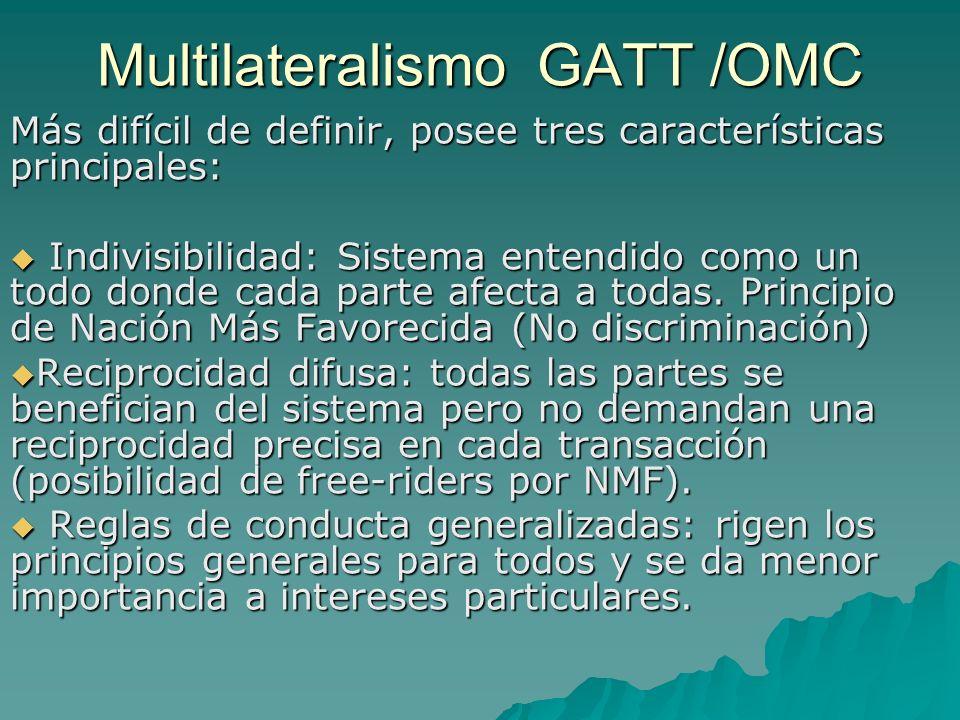 Multilateralismo GATT /OMC Más difícil de definir, posee tres características principales: Indivisibilidad: Sistema entendido como un todo donde cada