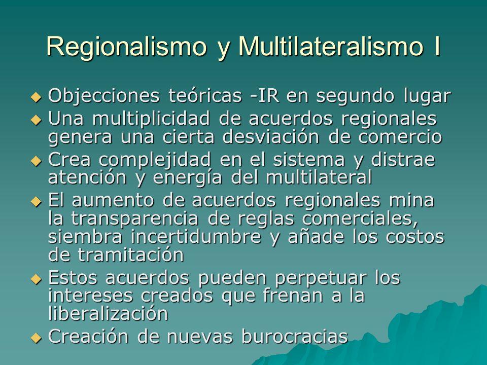 Regionalismo y Multilateralismo I Objecciones teóricas -IR en segundo lugar Objecciones teóricas -IR en segundo lugar Una multiplicidad de acuerdos re