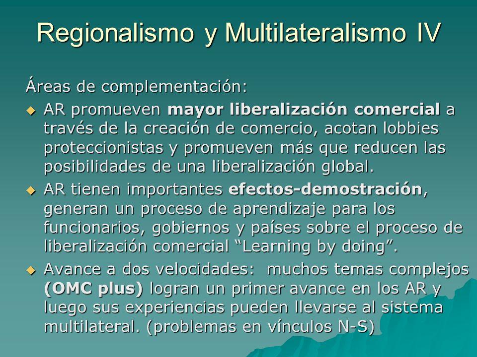 Áreas de complementación: AR promueven mayor liberalización comercial a través de la creación de comercio, acotan lobbies proteccionistas y promueven