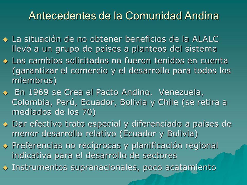 Antecedentes de la Comunidad Andina La situación de no obtener beneficios de la ALALC llevó a un grupo de países a planteos del sistema La situación d
