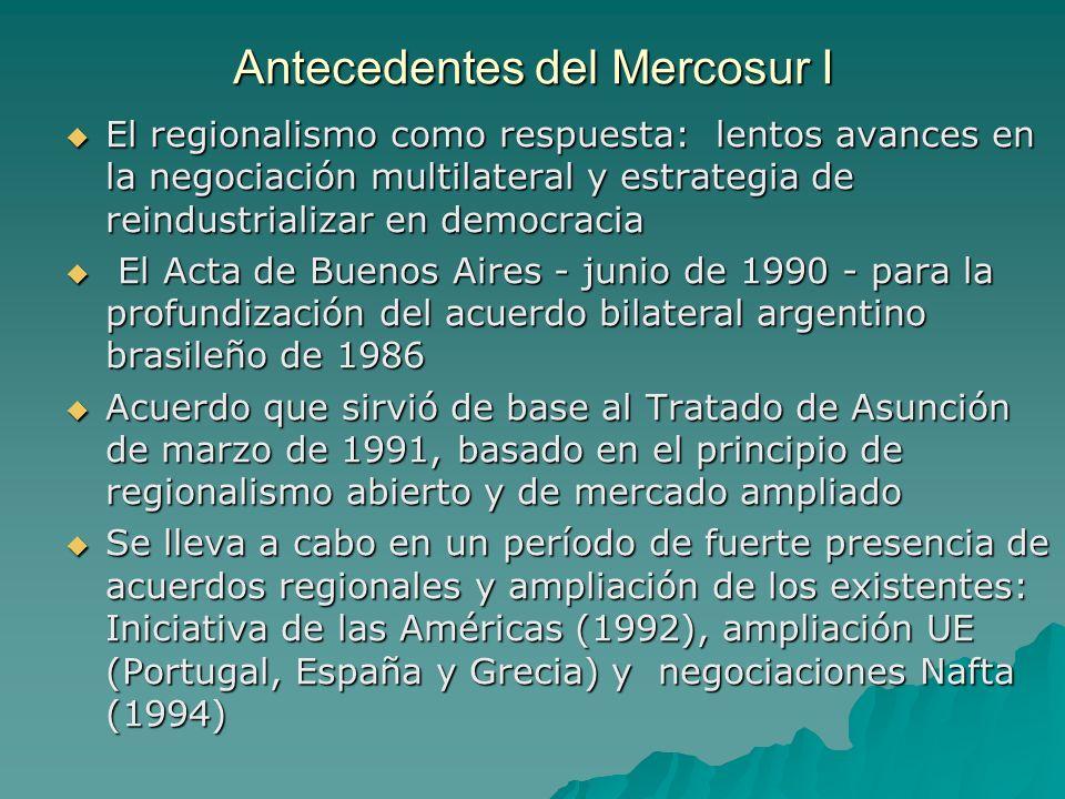 Antecedentes del Mercosur I El regionalismo como respuesta: lentos avances en la negociación multilateral y estrategia de reindustrializar en democrac