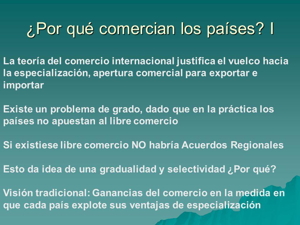 La teoría del comercio internacional justifica el vuelco hacia la especialización, apertura comercial para exportar e importar Existe un problema de g