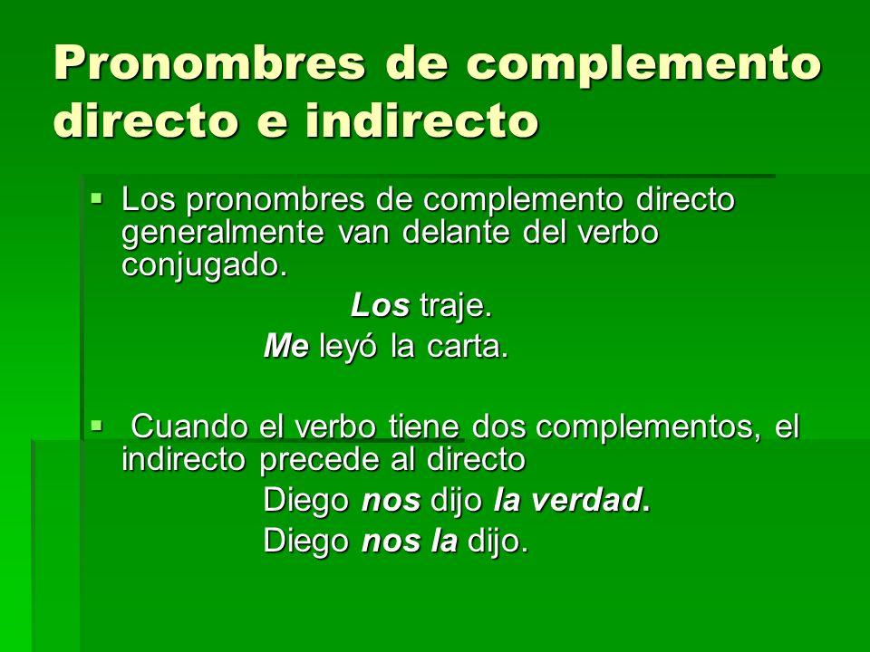 Pronombres de complemento directo e indirecto Los pronombres de complemento directo generalmente van delante del verbo conjugado. Los pronombres de co