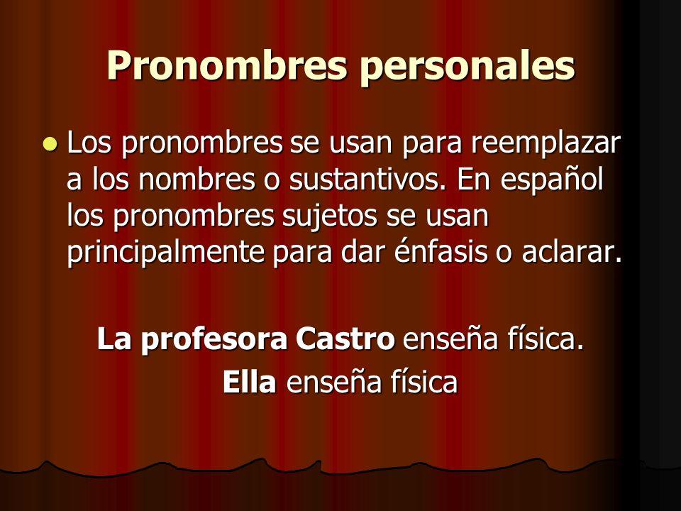 Pronombres personales Los pronombres se usan para reemplazar a los nombres o sustantivos. En español los pronombres sujetos se usan principalmente par