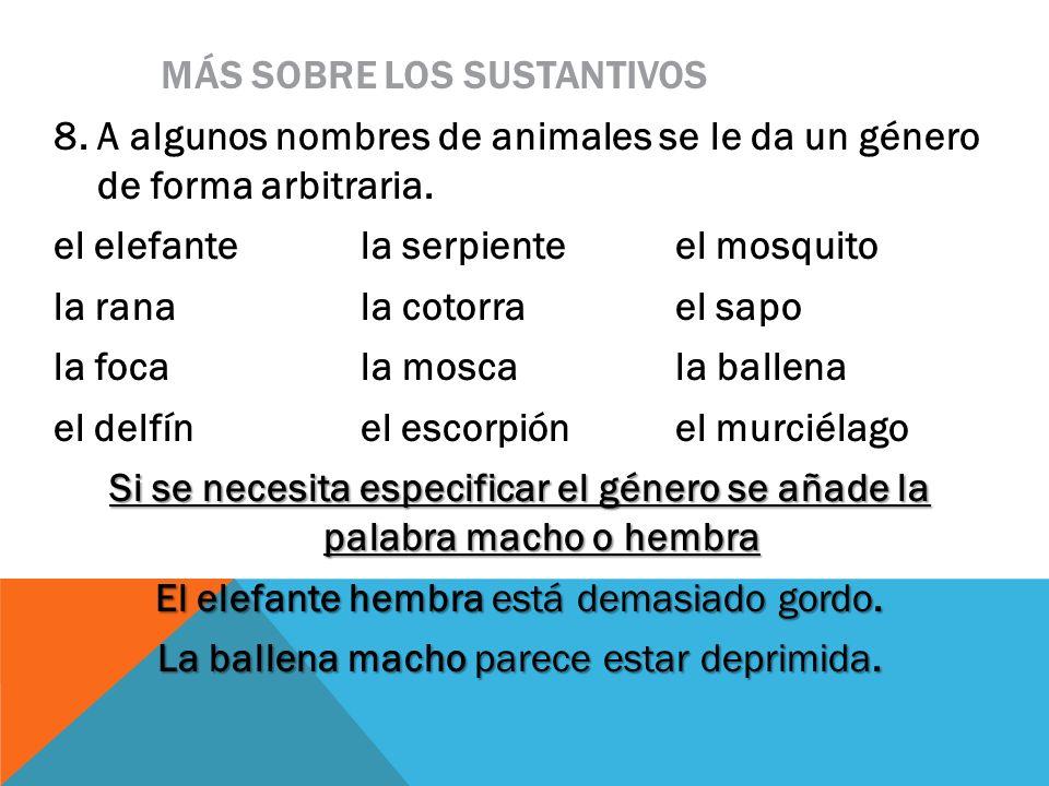 MÁS SOBRE LOS SUSTANTIVOS 8. A algunos nombres de animales se le da un género de forma arbitraria. el elefantela serpienteel mosquito la ranala cotorr