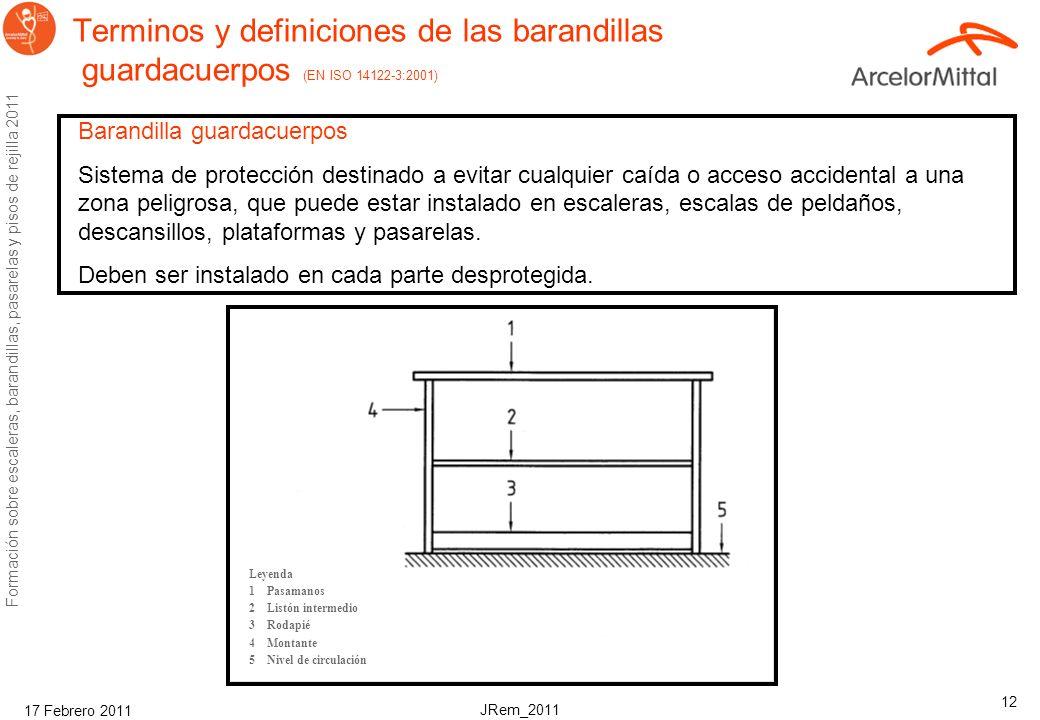 JRem_2011 Formación sobre escaleras, barandillas, pasarelas y pisos de rejilla 2011 17 Febrero 2011 11 Requisitos de seguridad en escaleras (EN ISO) E