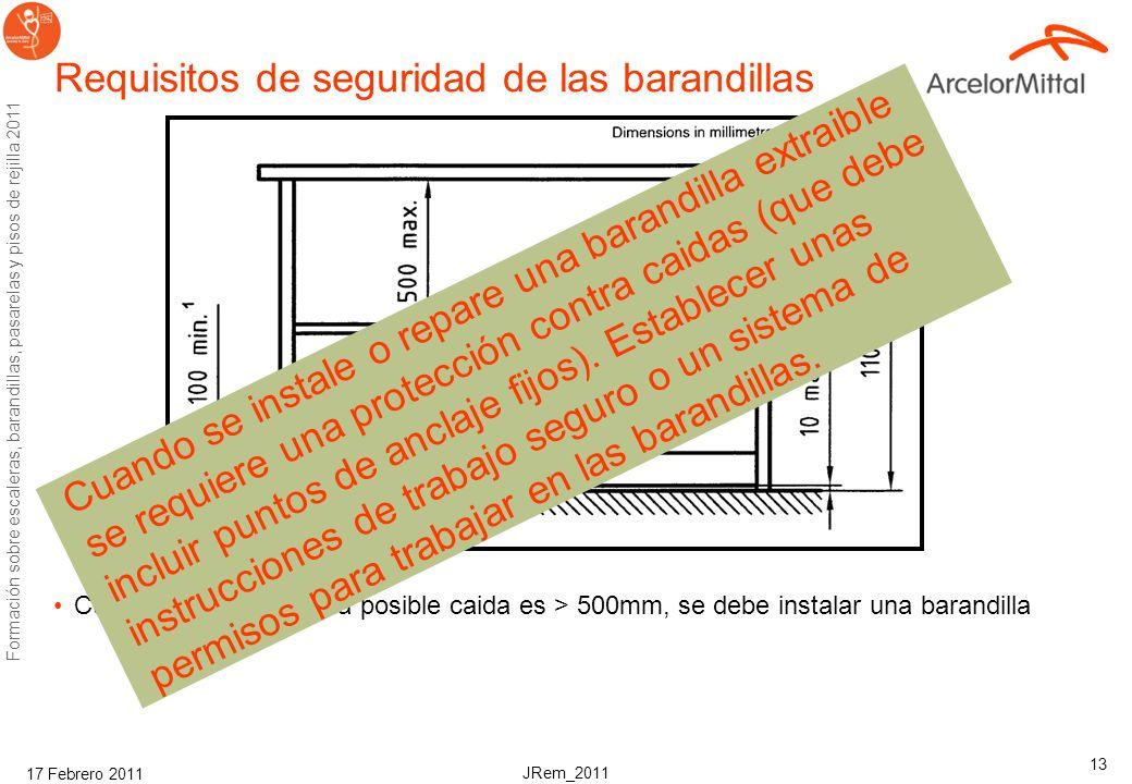 JRem_2011 Formación sobre escaleras, barandillas, pasarelas y pisos de rejilla 2011 17 Febrero 2011 12 Terminos y definiciones de las barandillas guar