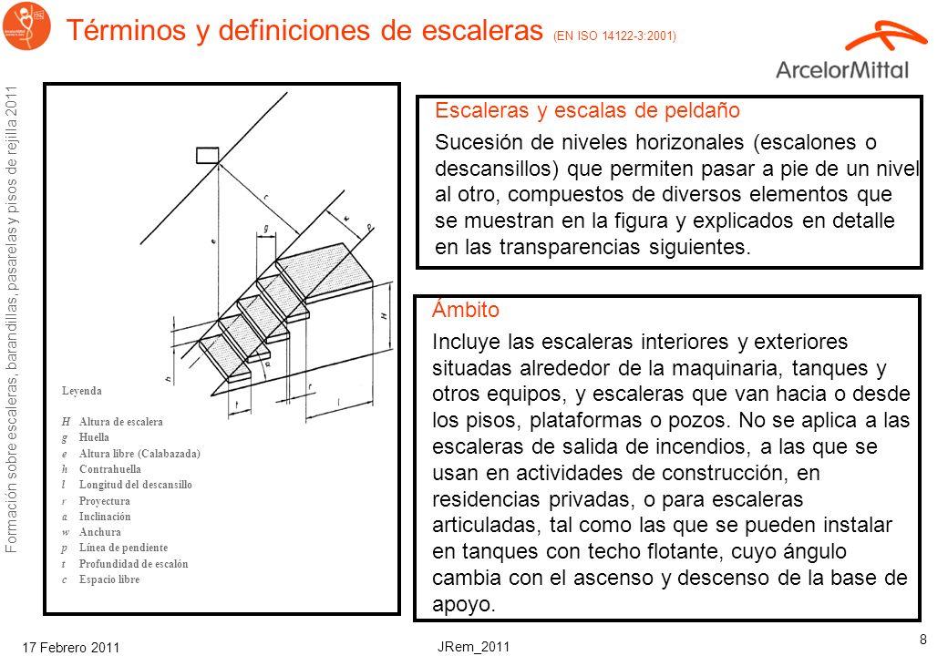 JRem_2011 Formación sobre escaleras, barandillas, pasarelas y pisos de rejilla 2011 17 Febrero 2011 7 Construcción segura EN ISO 14122 OHSA AM ST 201
