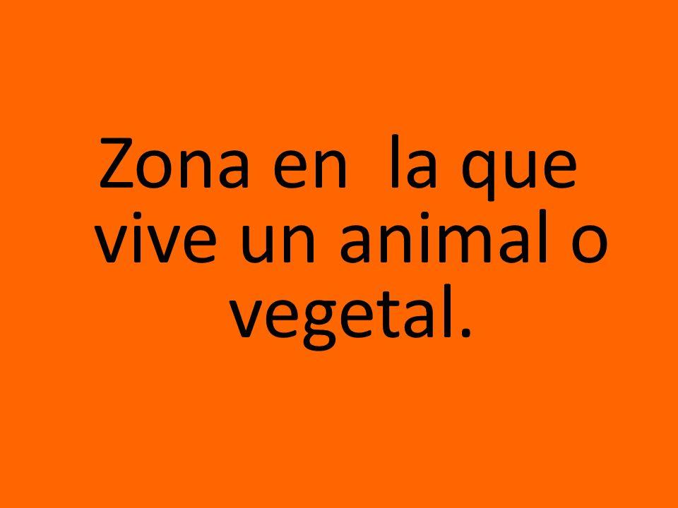 Zona en la que vive un animal o vegetal.