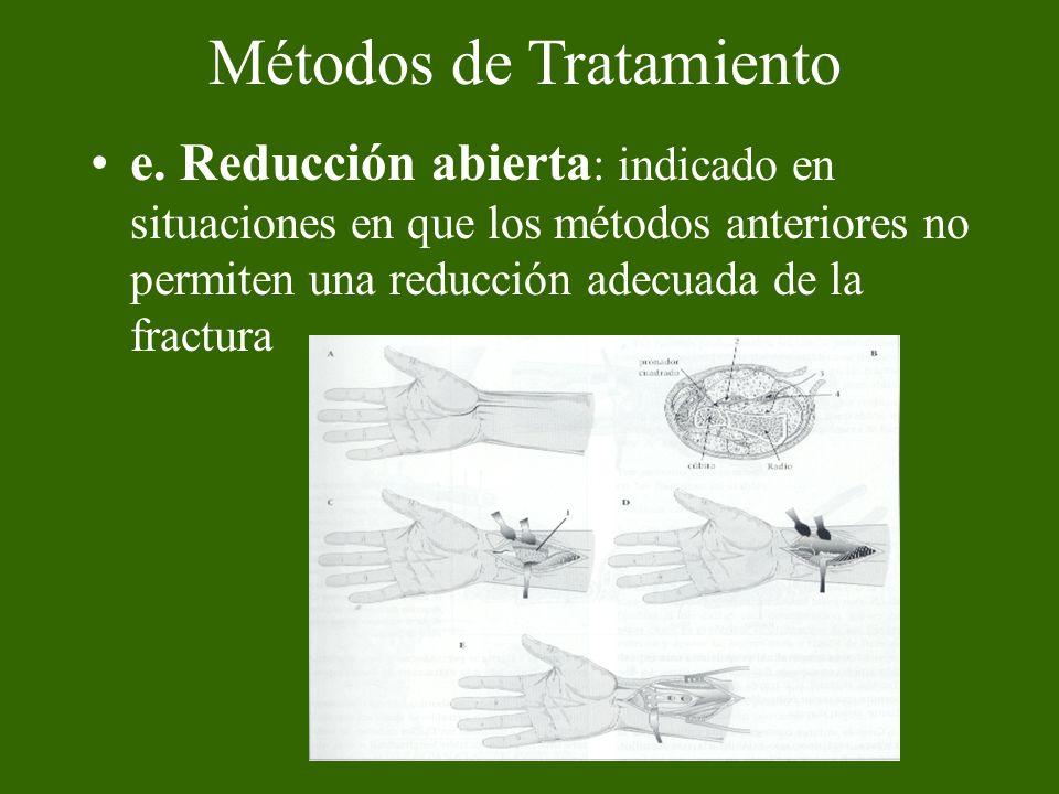e. Reducción abierta : indicado en situaciones en que los métodos anteriores no permiten una reducción adecuada de la fractura Métodos de Tratamiento