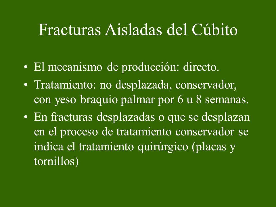 Fracturas Aisladas del Cúbito El mecanismo de producción: directo. Tratamiento: no desplazada, conservador, con yeso braquio palmar por 6 u 8 semanas.