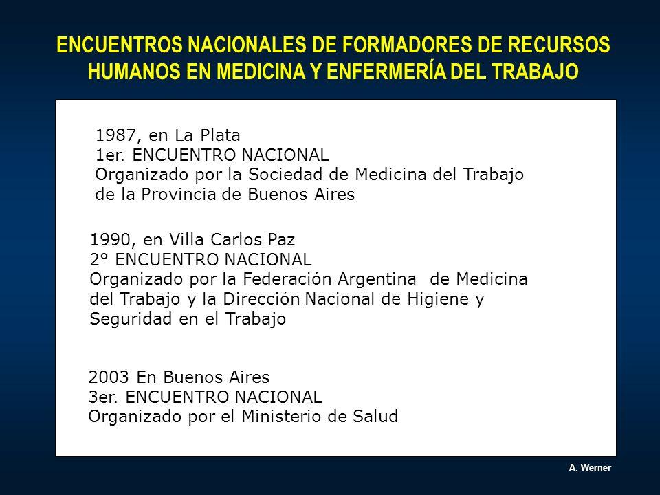 ENCUENTROS NACIONALES DE FORMADORES DE RECURSOS HUMANOS EN MEDICINA Y ENFERMERÍA DEL TRABAJO.