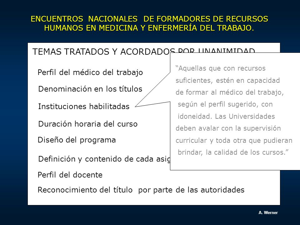 CARRERA DE ESPECIALISTA EN MEDICINA DEL TRABAJO Director: Dr.