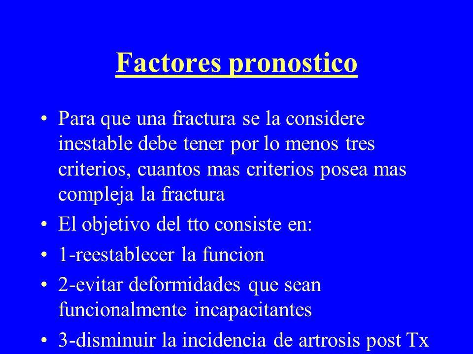 Factores pronostico Para que una fractura se la considere inestable debe tener por lo menos tres criterios, cuantos mas criterios posea mas compleja l