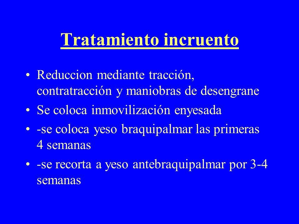 Tratamiento incruento Reduccion mediante tracción, contratracción y maniobras de desengrane Se coloca inmovilización enyesada -se coloca yeso braquipa