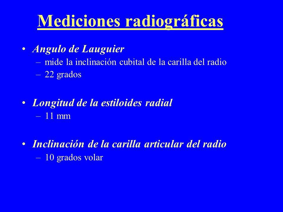 Mediciones radiográficas Angulo de Lauguier –mide la inclinación cubital de la carilla del radio –22 grados Longitud de la estiloides radial –11 mm In