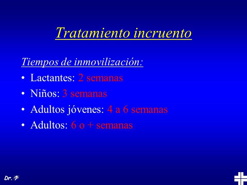 Tratamiento incruento Tiempos de inmovilización: Lactantes: 2 semanas Niños: 3 semanas Adultos jóvenes: 4 a 6 semanas Adultos: 6 o + semanas Dr.