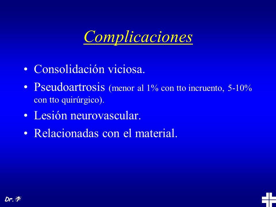 Complicaciones Consolidación viciosa. Pseudoartrosis (menor al 1% con tto incruento, 5-10% con tto quirúrgico). Lesión neurovascular. Relacionadas con