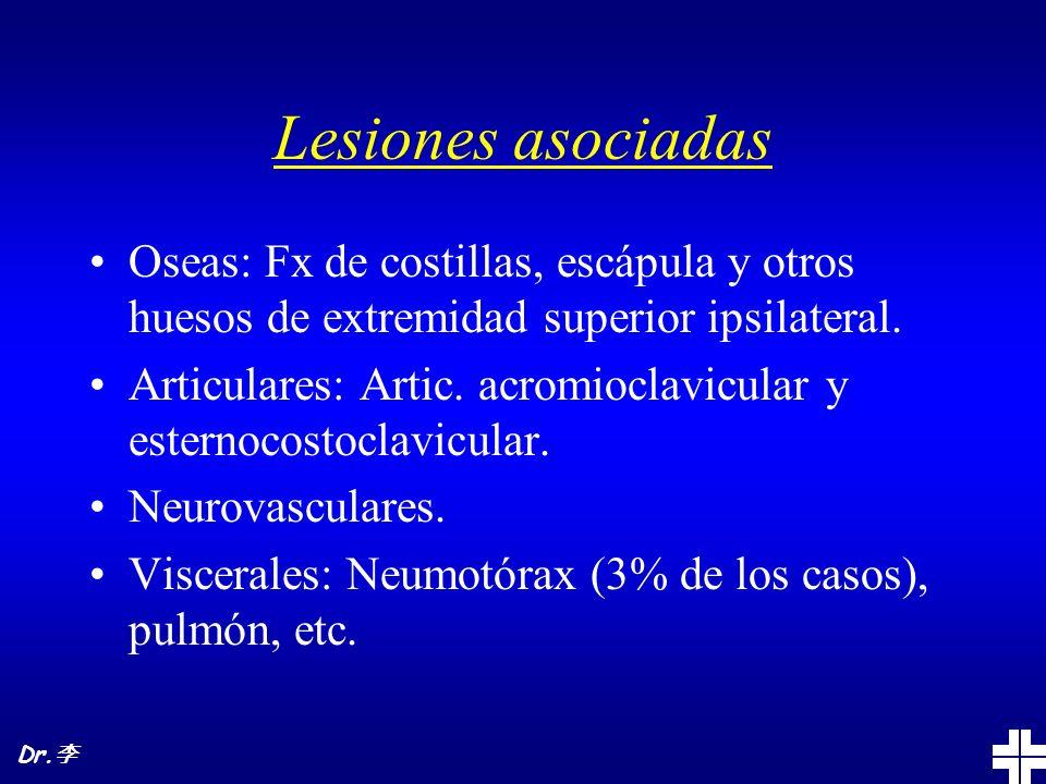 Lesiones asociadas Oseas: Fx de costillas, escápula y otros huesos de extremidad superior ipsilateral. Articulares: Artic. acromioclavicular y esterno