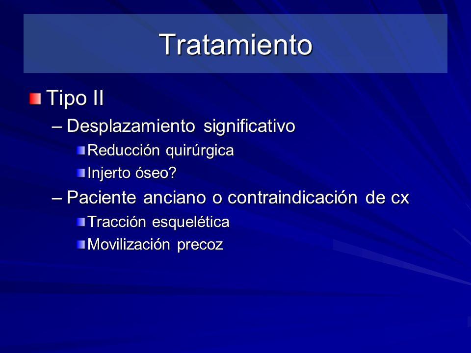 Tratamiento Tipo II –Desplazamiento significativo Reducción quirúrgica Injerto óseo? –Paciente anciano o contraindicación de cx Tracción esquelética M