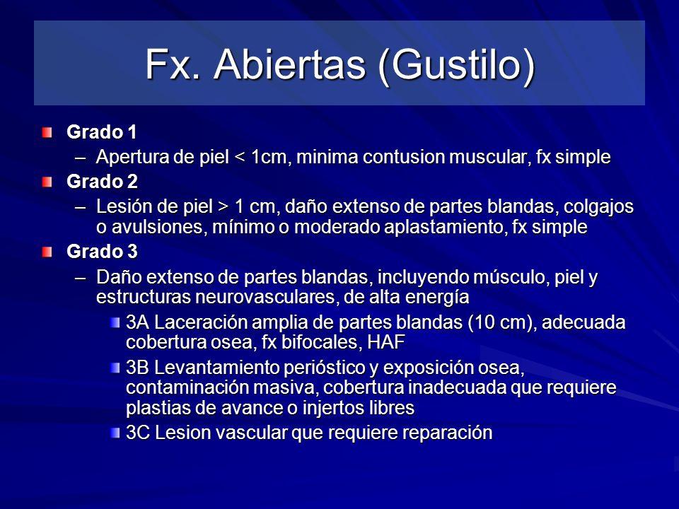 Fx. Abiertas (Gustilo) Grado 1 –Apertura de piel < 1cm, minima contusion muscular, fx simple Grado 2 –Lesión de piel > 1 cm, daño extenso de partes bl