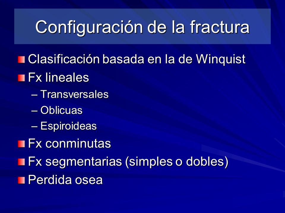 Configuración de la fractura Clasificación basada en la de Winquist Fx lineales –Transversales –Oblicuas –Espiroideas Fx conminutas Fx segmentarias (s