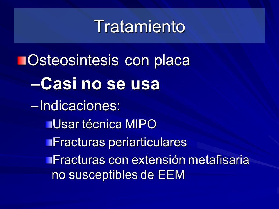 Tratamiento Osteosintesis con placa –Casi no se usa –Indicaciones: Usar técnica MIPO Fracturas periarticulares Fracturas con extensión metafisaria no