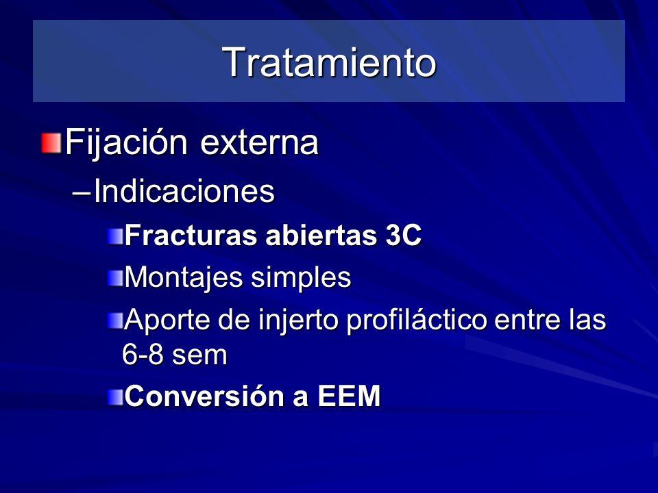 Tratamiento Fijación externa –Indicaciones Fracturas abiertas 3C Montajes simples Aporte de injerto profiláctico entre las 6-8 sem Conversión a EEM