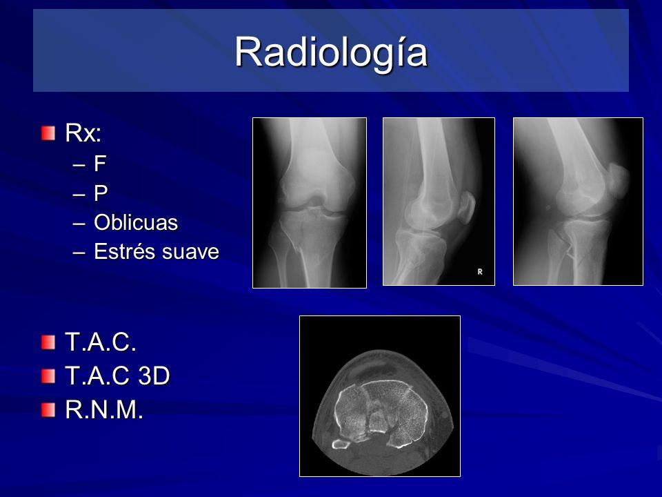 Radiología Rx: –F –P –Oblicuas –Estrés suave T.A.C. T.A.C 3D R.N.M.