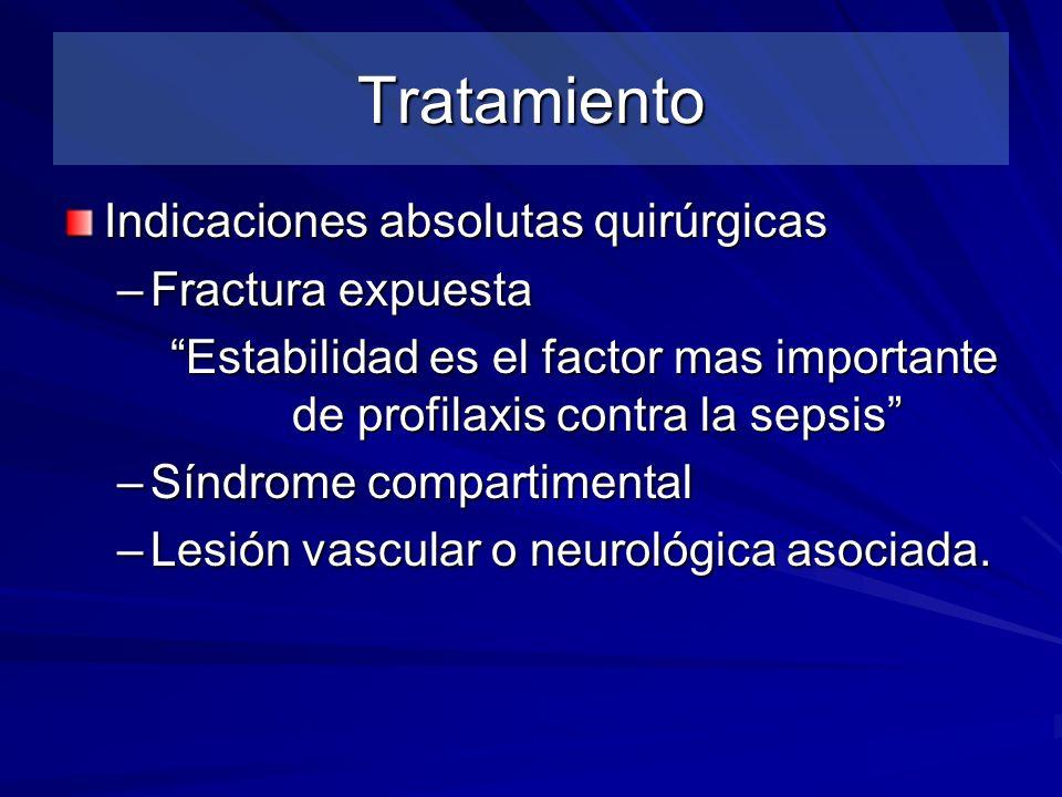 Tratamiento Indicaciones absolutas quirúrgicas –Fractura expuesta Estabilidad es el factor mas importante de profilaxis contra la sepsis –Síndrome com