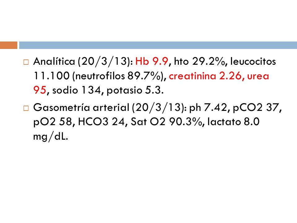 Analítica (20/3/13): Hb 9.9, hto 29.2%, leucocitos 11.100 (neutrofilos 89.7%), creatinina 2.26, urea 95, sodio 134, potasio 5.3. Gasometría arterial (
