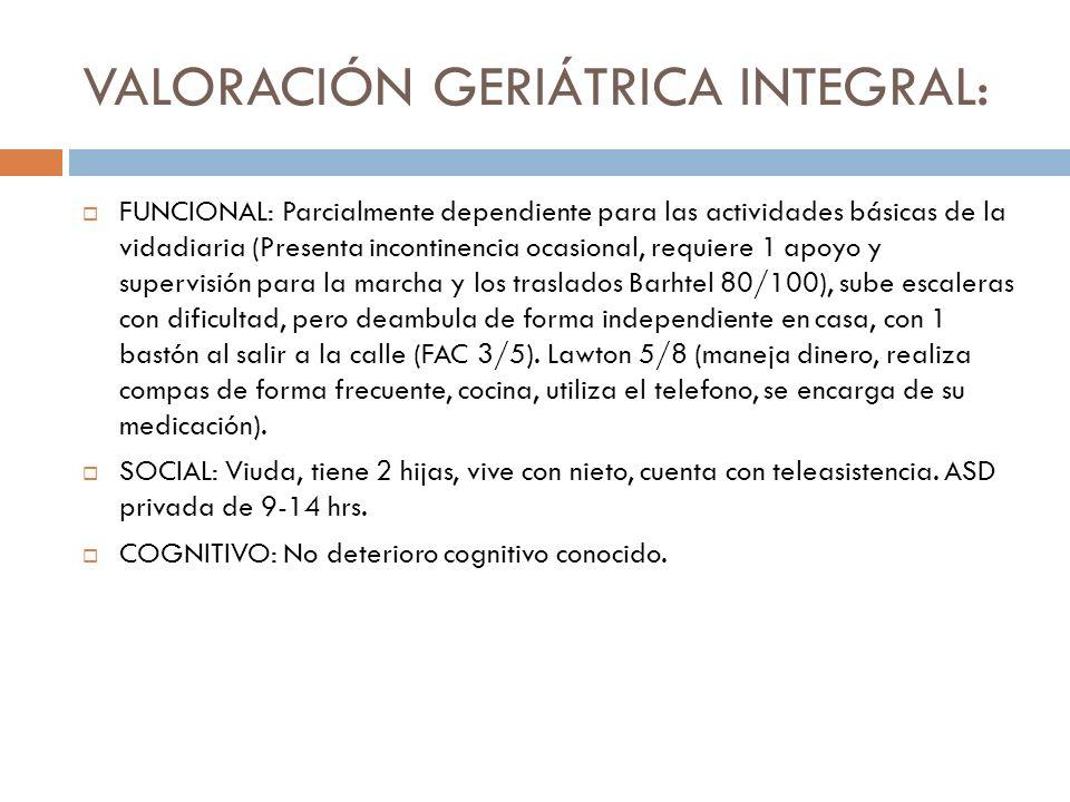 Exploración fisica (1era valoración): TA 110/65 t 36.5ºc FC 78 lpm Sat 93% con gafas nasales (basal 87%).
