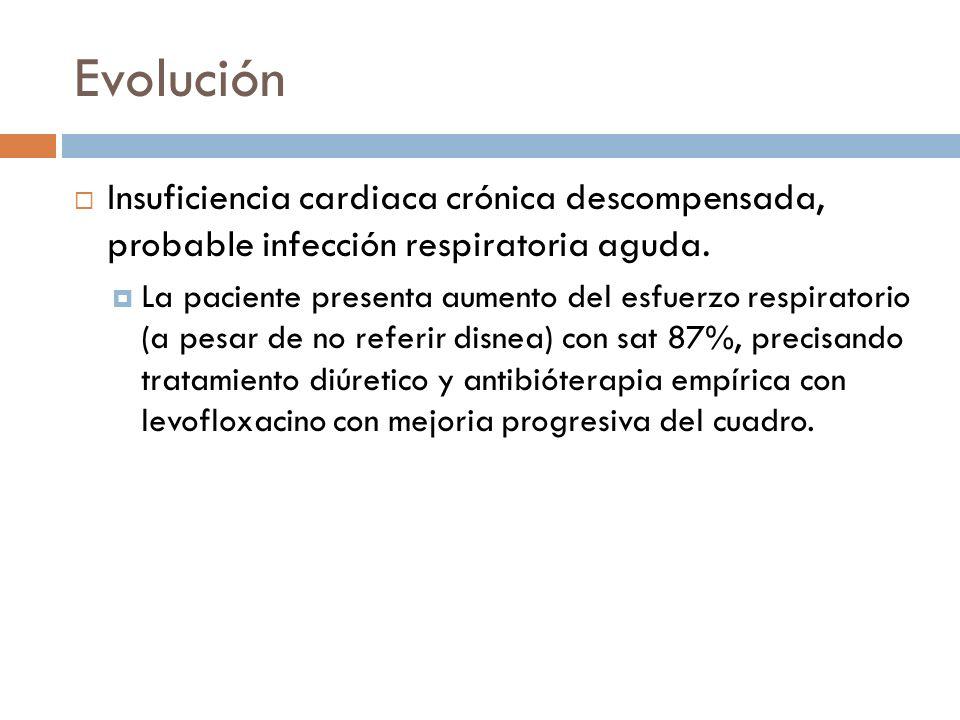 Evolución Insuficiencia cardiaca crónica descompensada, probable infección respiratoria aguda. La paciente presenta aumento del esfuerzo respiratorio