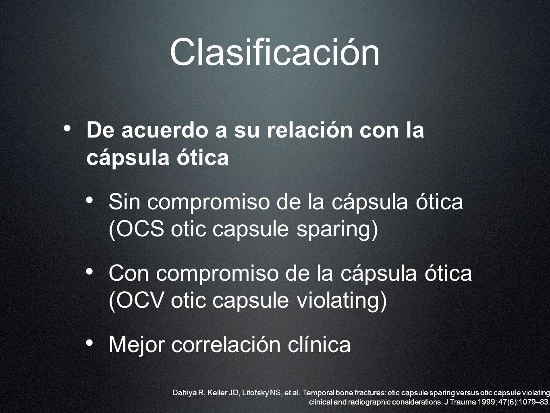 Clasificación De acuerdo a su relación con la cápsula ótica Sin compromiso de la cápsula ótica (OCS otic capsule sparing) Con compromiso de la cápsula