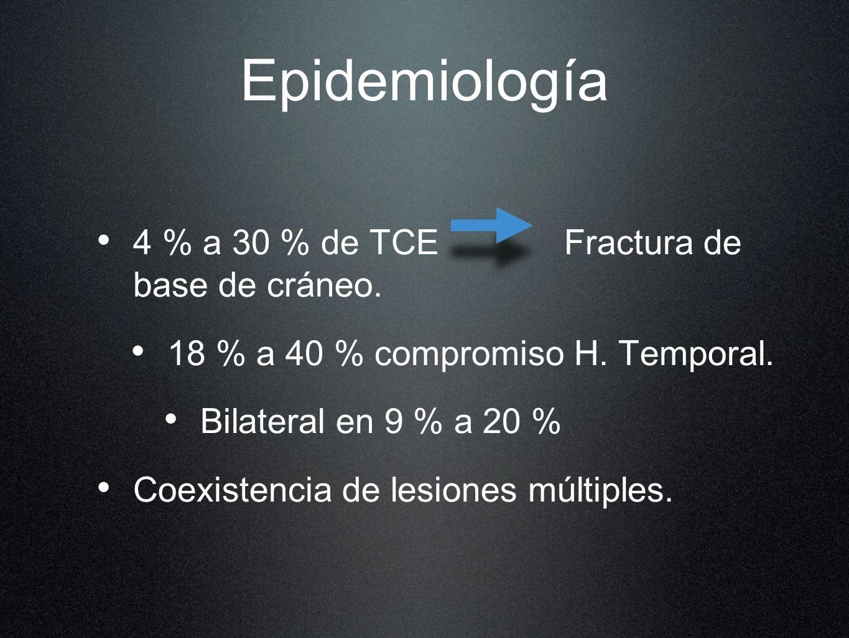 Epidemiología 4 % a 30 % de TCE Fractura de base de cráneo. 18 % a 40 % compromiso H. Temporal. Bilateral en 9 % a 20 % Coexistencia de lesiones múlti