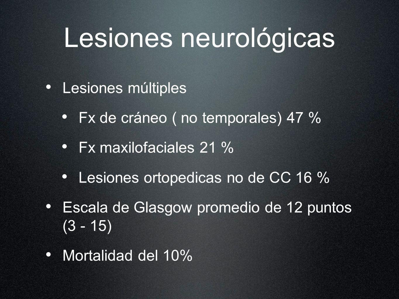 Lesiones neurológicas Lesiones múltiples Fx de cráneo ( no temporales) 47 % Fx maxilofaciales 21 % Lesiones ortopedicas no de CC 16 % Escala de Glasgo
