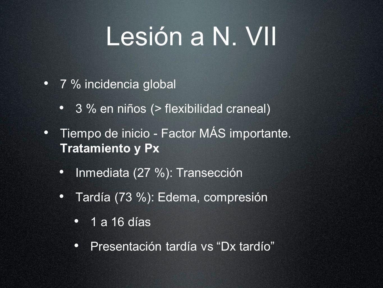 Lesión a N. VII 7 % incidencia global 3 % en niños (> flexibilidad craneal) Tiempo de inicio - Factor MÁS importante. Tratamiento y Px Inmediata (27 %