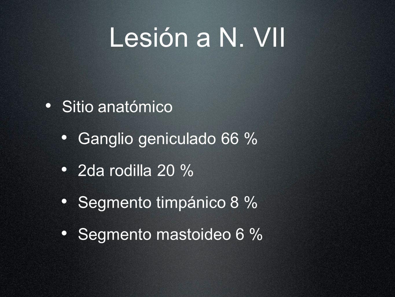 Lesión a N. VII Sitio anatómico Ganglio geniculado 66 % 2da rodilla 20 % Segmento timpánico 8 % Segmento mastoideo 6 %
