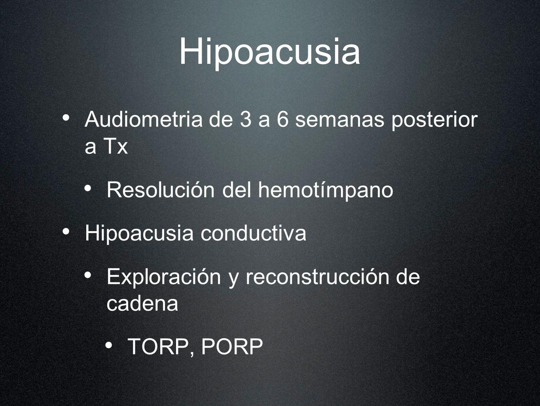 Hipoacusia Audiometria de 3 a 6 semanas posterior a Tx Resolución del hemotímpano Hipoacusia conductiva Exploración y reconstrucción de cadena TORP, P