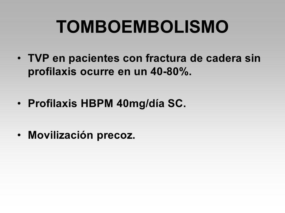 TOMBOEMBOLISMO TVP en pacientes con fractura de cadera sin profilaxis ocurre en un 40-80%.