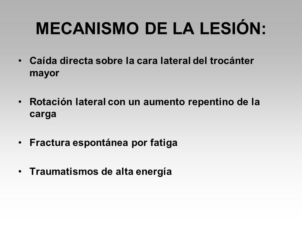 MECANISMO DE LA LESIÓN: Caída directa sobre la cara lateral del trocánter mayor Rotación lateral con un aumento repentino de la carga Fractura espontánea por fatiga Traumatismos de alta energía