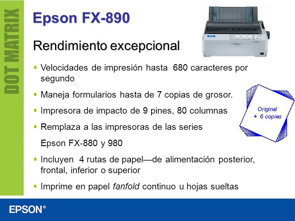 Epson FX-890 Rendimiento excepcional Velocidades de impresión hasta 680 caracteres por segundo Maneja formularios hasta de 7 copias de grosor. Impreso