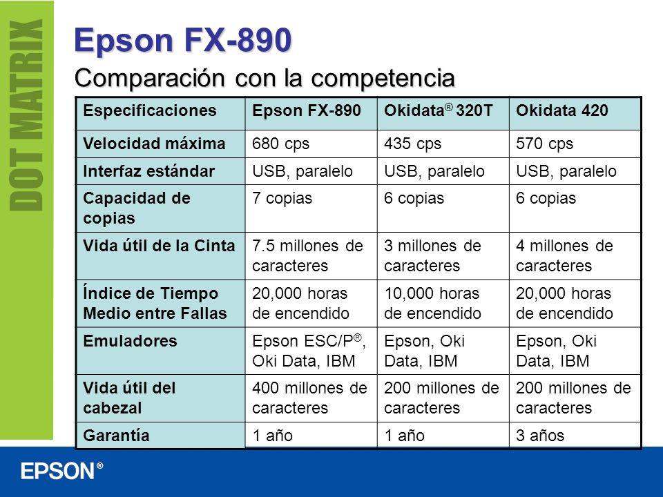 Epson FX-890 Comparación con la competencia EspecificacionesEpson FX-890Okidata ® 320TOkidata 420 Velocidad máxima680 cps435 cps570 cps Interfaz están